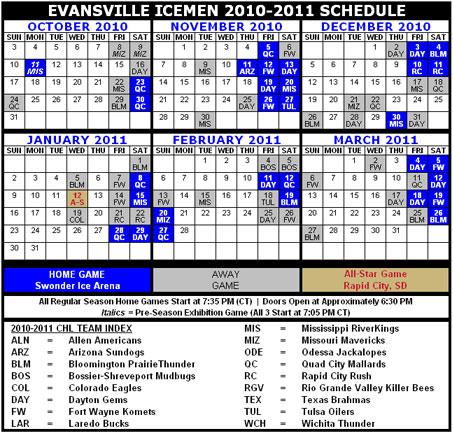 Icemen Schedule Calendar